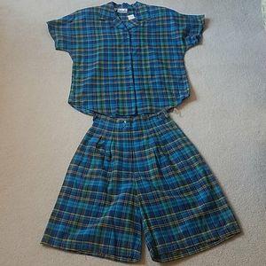 Rafaella vintage madras shirt and short set NWT